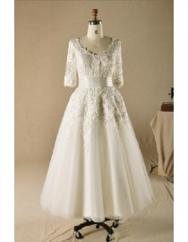 '50s Sexy deep open scoop neckline sheer 3/4 sleeve lace tea length wedding dresses HY-002