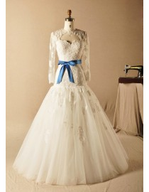 Sheer long sleeve sweetheart lace mermaid sweeping train wedding dresses with blue satin bowknot HY-011