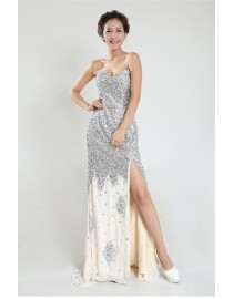 Luxurious Swarovski beaded accent sweetheart front sli chamapgne chiffon evening party prom dress TLD-014