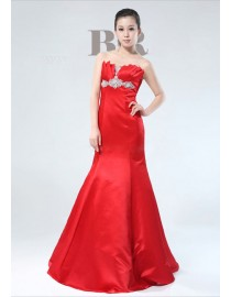 Gorgeous shell neckline red satin mermaid swarovski beaded evening party prom dress  2014 TLD-017