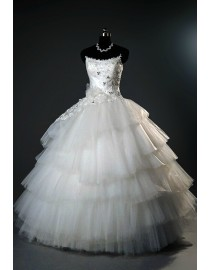 Strapless lace appliques bodice layerd tulle ball gown wedding dress 2014 TB-144