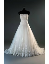 Sweetheart elongated bodice tulle lace appliques a-line court train wedding dress with beaded waistline 2014 TB-145