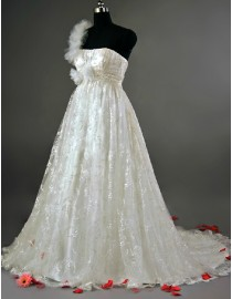 One strap shoulder empire maternity lace a-line ivory court train real sample wedding dress 2014 TB-167