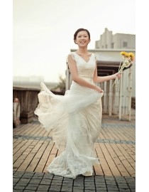 Simple v-neck imported French soft lace appliques sheath ivory white sweeping train real sample wedding dress 2014 TB-178