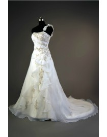 Gorgeous one floral strap shoulder ruffles front lace appliques beaded accent ivory white organza a-line real sample wedding dress 2014 TB-182
