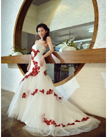 Gorgeous sweetheart red lace appliques ivory tulle fit and flare mermaid court train real sample wedding dress 2014 TB-189