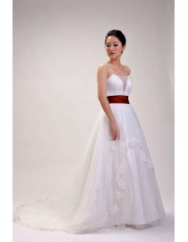 Simple sweetheart illusion neckline empire maternity red satin sash ivory tulle lace appliques swarovski beaded a-line court train real sample wedding dress  2014 TB-208