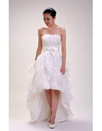 Hi low strapless small flowers appliqued organza ruffle sweeping train real sample wedding dress with satin sash  2014 TB-209