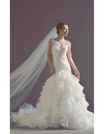 Lace appliques v-neck ruched elongated fit and flare mermaid court train real sample wedding dress 2014 TB-213