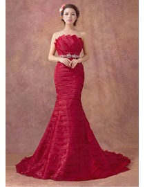 Stunning strapless layered red ivory lavender organza mermaid court train real sample wedding dress with swarovski beaded waistband 2014 TB-295
