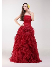 Gorgeous red strapless vera wang style ruffles skirt sweeping train real sample wedding dress  2014 TB-297