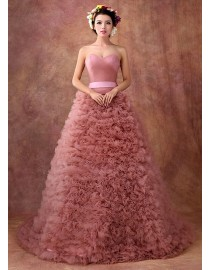 Dreaming plum pink sweetheart rosettes skirt sweeping train real sample wedding dress with bowknot back 2014 TB-298