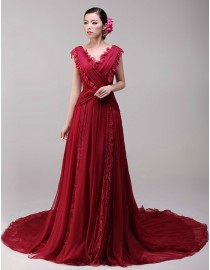 Unique red v-neck lace appliques chiffon a-line court  train original design wedding dresses 2014 TB-303