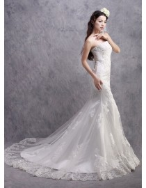 Junoseque strapless lace appliques sheath court train real sample wedding dresses with swarovski beaded  2014 TB-310