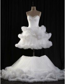 Stunning sweetheart wonderstruck tulle a-line real sample wedding dresses with swarovski beaded two in one 2014 TB-314