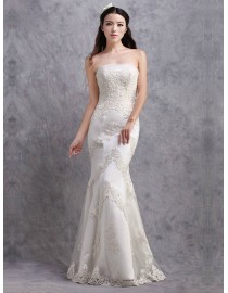 Simple and elegant strapless lace appliques sheath full length real sample wedding dresses 2014 TB-319
