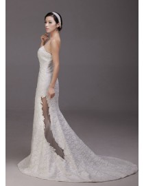 Simple and elegant strapless lace appliques sheath court train illusion keyhole skirt  real sample wedding dresses 2014 TB-320