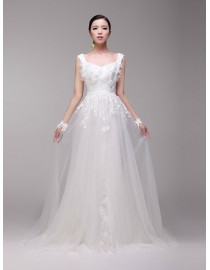 Dreaming beach cap sleeve sweetheart lace appliques tulle a-line court train real sample wedding dresses 2014 TB-321