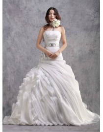 Stunning ruched strapless elongated bodice mermaid pleats full textured skirt court train real sample wedding dresses with swarovski beaded waist sash and handmade flowers embellishment 2014 TB-324
