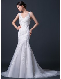 Gorgeous sheer lace  strap shoulder v-neck lace appliques swarovski beaded sheath court train real sample wedding dresses 2014 TB-267
