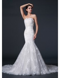 Vinatge strapless lace appliques sheath (court)chapel train real sample lace wedding dresses 2014 TB-268