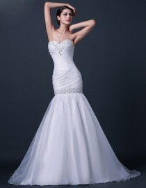 Simple sweetheart swarovski beaded fit and flare mermaid organza sweeping train real sample wedding dresses with swarovski beaded waistline 2014 TB-269