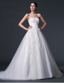 Dreaming strapless empire a-line lace appliques tulle court train real sample lace wedding dresses with handmade flowers embellishment  2014 TB-274