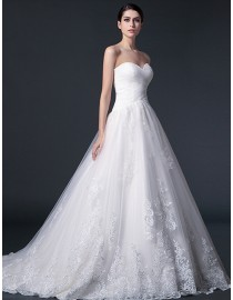 Elegant pleats sweetheart a-line lace appliques tulle court train real sample lace wedding dresses 2014 TB-275