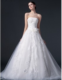 Elegant strapless a-line lace appliques tulle court train real sample lace wedding dresses with handmade flowers embellishment 2014 TB-276