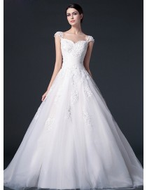 Stunning sheer lace cap sleeve sweetheart cross pleats bodice lace appliques tulle a-line court train real sample lace wedding dresses with sequins beaded 2014 TB-277