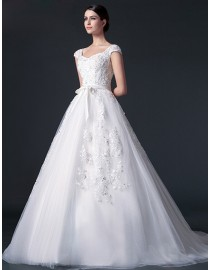 Stunning sheer lace cap sleeve sweetheart lace appliques swarovski pearls embellishment with satin sash tulle a-line court train real sample lace wedding dresses  2014 TB-279