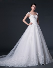 Luxurious sheer lace cap sleeve sweetheart pleats bodice lace appliques swarovski beaded a-line court(cathedral) train real sample lace wedding dresses  2014 TB-281
