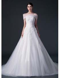 Unique strapless elongated bodice lace appliques small pearls beaded a-line tulle court train real sample lace wedding dresses  2014 TB-282