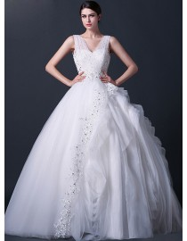 Unique sheer tulle strap shoulder sweetheart lace appliques swarovski beaded full textured tulle ball gown real sample wedding dresses  2014 TB-287
