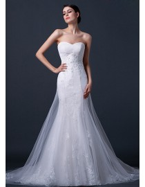 Stunning sweetheart tulle lace appliques mermaid inside and a-line outside court train real sample wedding dresses  2014 TB-289