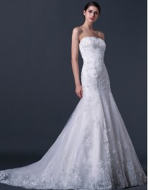 Gorgeous strapless mermaid sheath lace appliques swarovski beaded sweeping train real sample wedding dresses  2014 TB-291