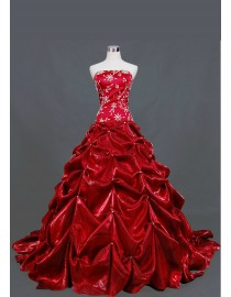 Gorgeous strapless elongated bodice beads embellishment red taffeta caught up skirt ball gown court train wedding dresses  TB-363
