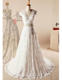 Elegant cap sleeve v-neck soft lace sheath court train wedding dresses with pearls and beads beaded accent waistline 2014 TB-367