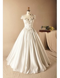 Gorgeous illusion neckline with handmade flowers beads and swarovski beaded cap sleeve lace appliques basque waistline a-line satin sweeping train wedding dresses 2014 TB-368