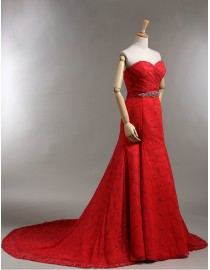 Gorgeous sweetheart empire red soft lace court train a-line wedding dresses with beads beaded satin waistline 2014 TB-371