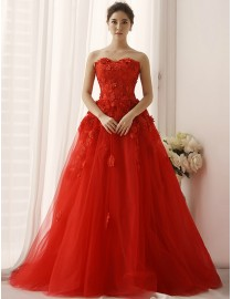 Elegant sweetheart red lace appliques embellishment tulle a-line sweeping train wedding dresses  TB-391
