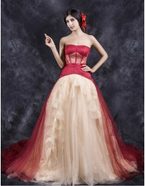 Unique sweetheart red satin and champagne tulle elongated bodice a-line court train wedding dresses  TB-399