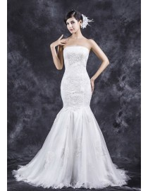 Gorgeous strapless lace appliques fit and flare trumpet sweeping train wedding dresses TB-402