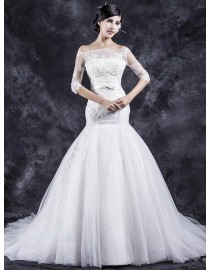 Gorgeous off shoulder half illusion lace appliques long sleeves mermaid court train wedding dresses with satin sashTB-403