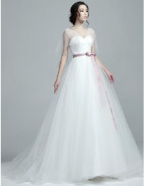 Elegant illusion cap sleeves sweetheart neckline tulle a-line sweeping train wedding dresses with cameo satin sash TB-408