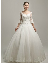 Elegant scoop neckline half length trumpet lace sleeves sweeping train ball gown wedding dress TB-231