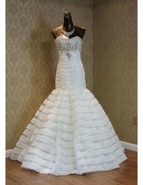 Gorgeous sweetheart Swarovski and beads beaded accent trumpet sweeping train organza wedding dress TB-232