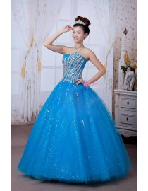 Strapless swarovski beaded accent  blue tulle quincenera prom wedding dresses QD-002