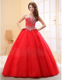 Strapless swarovski beaded accent red white tulle quincenera prom wedding dresses QD-003