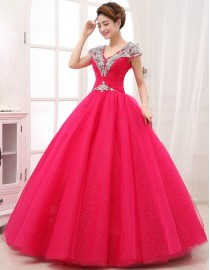 Cap sleeves v-neck Swarovski beaded accent deeppink ball gown tulle wedding quincenera dresses WBD-095